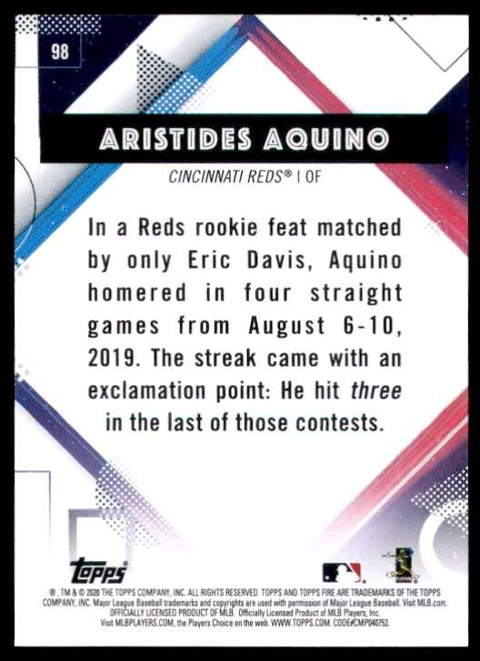 2020 Topps Fire Aristides Aquino RC #98 card back image