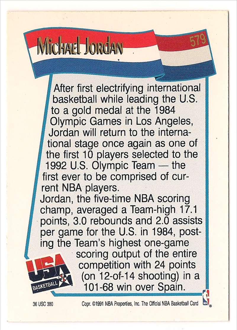 1991-92 NBA Hoops Michael Jordan #579 card back image