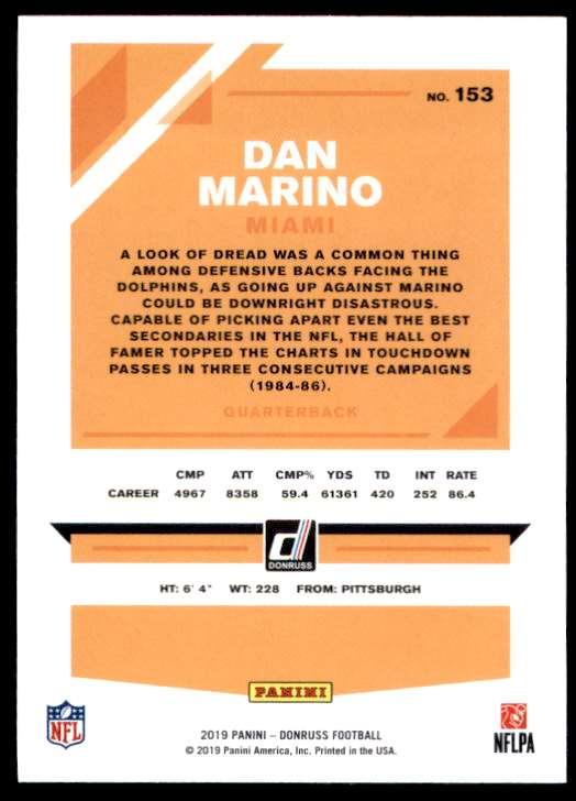 2019 Donruss Dan Marino #153 card back image
