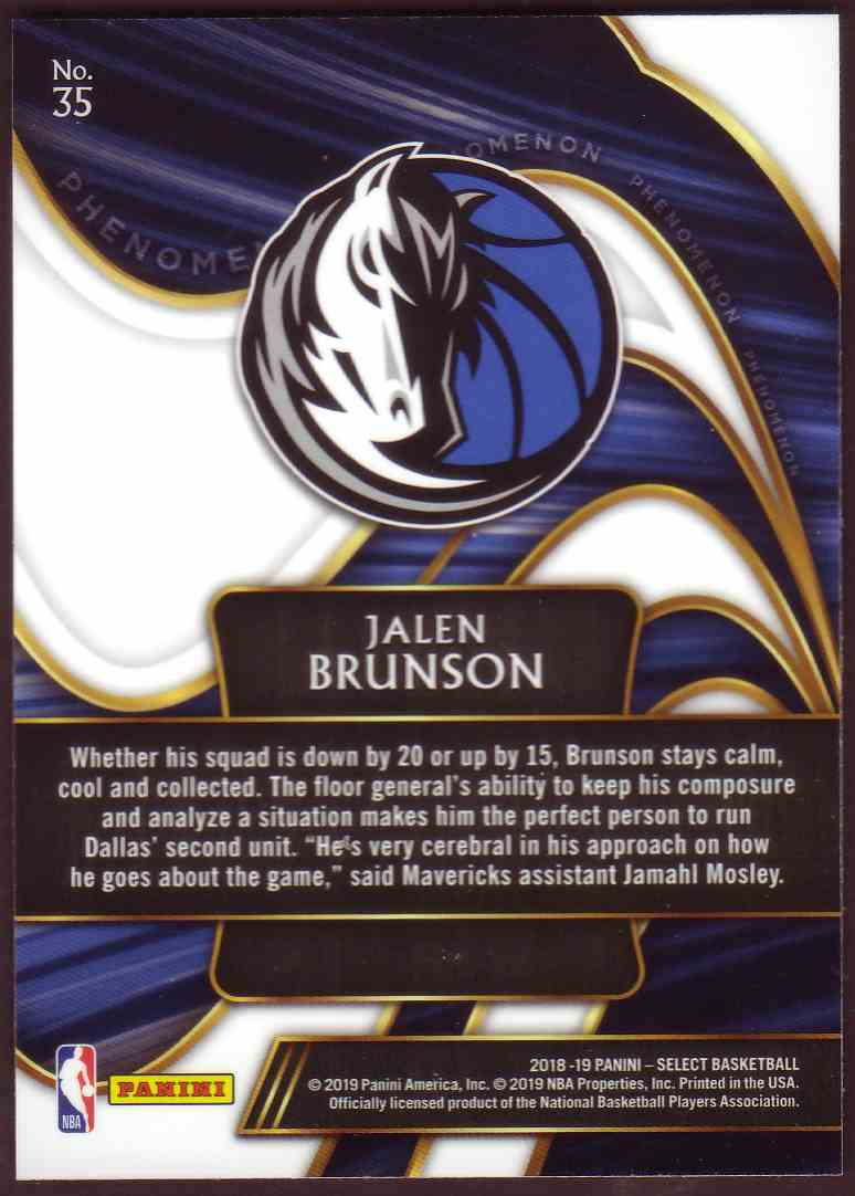 2018-19 Panini Select Phenomenon Jalen Brunson #35 card back image