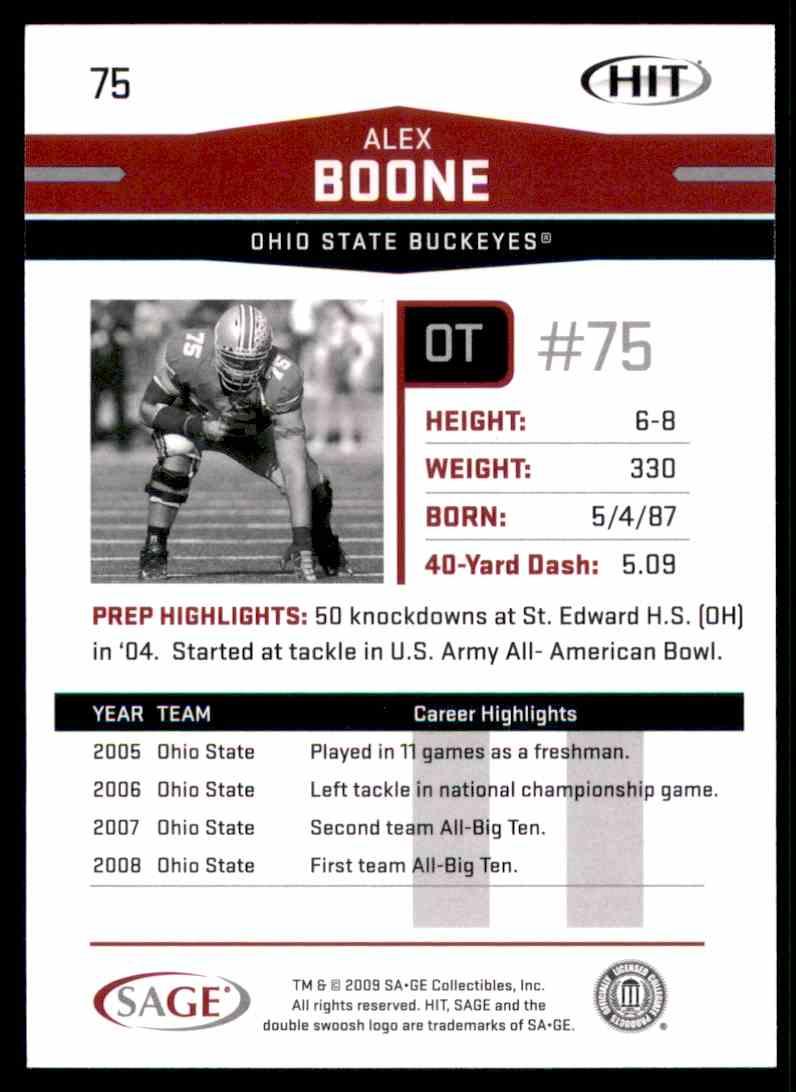 2009 Sage Hit Alex Boone #75 card back image