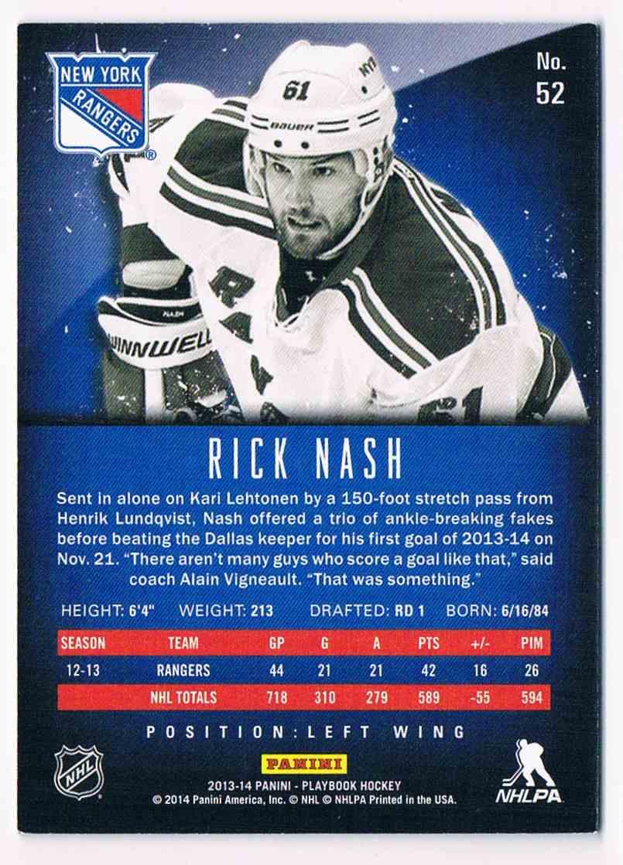 2013-14 Panini Playbook Rick Nash #52 card back image