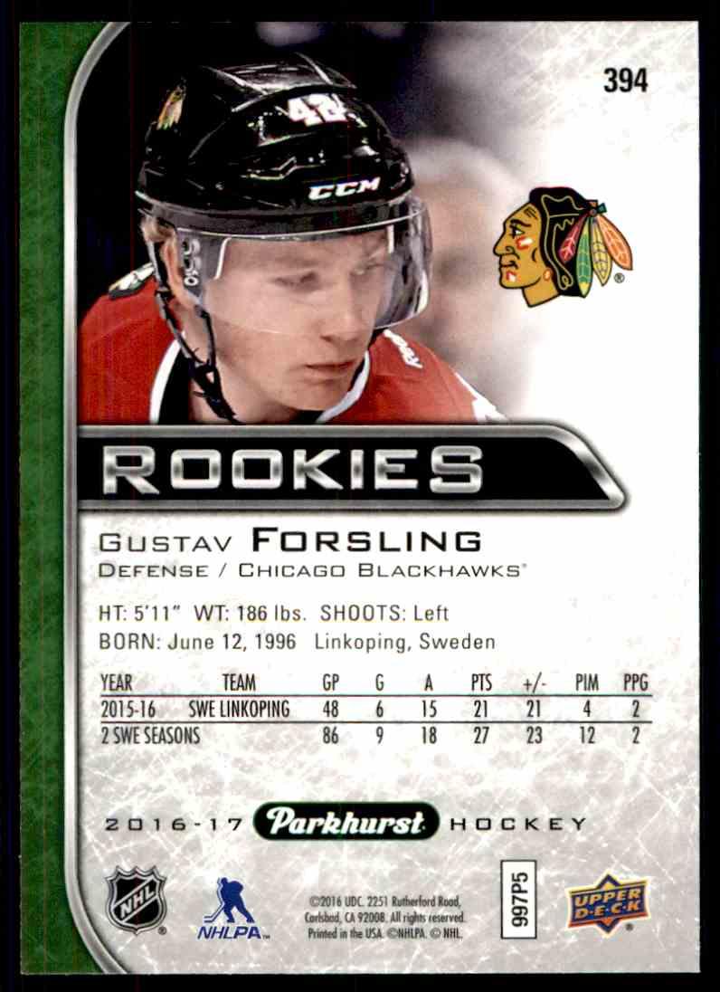 2016-17 Parkhurst Rookies Gustav Forsling #394 card back image