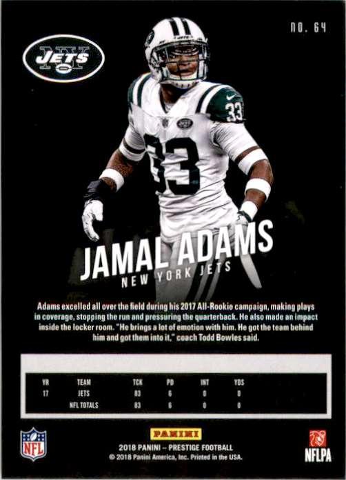 2018 Prestige Jamal Adams #64 card back image