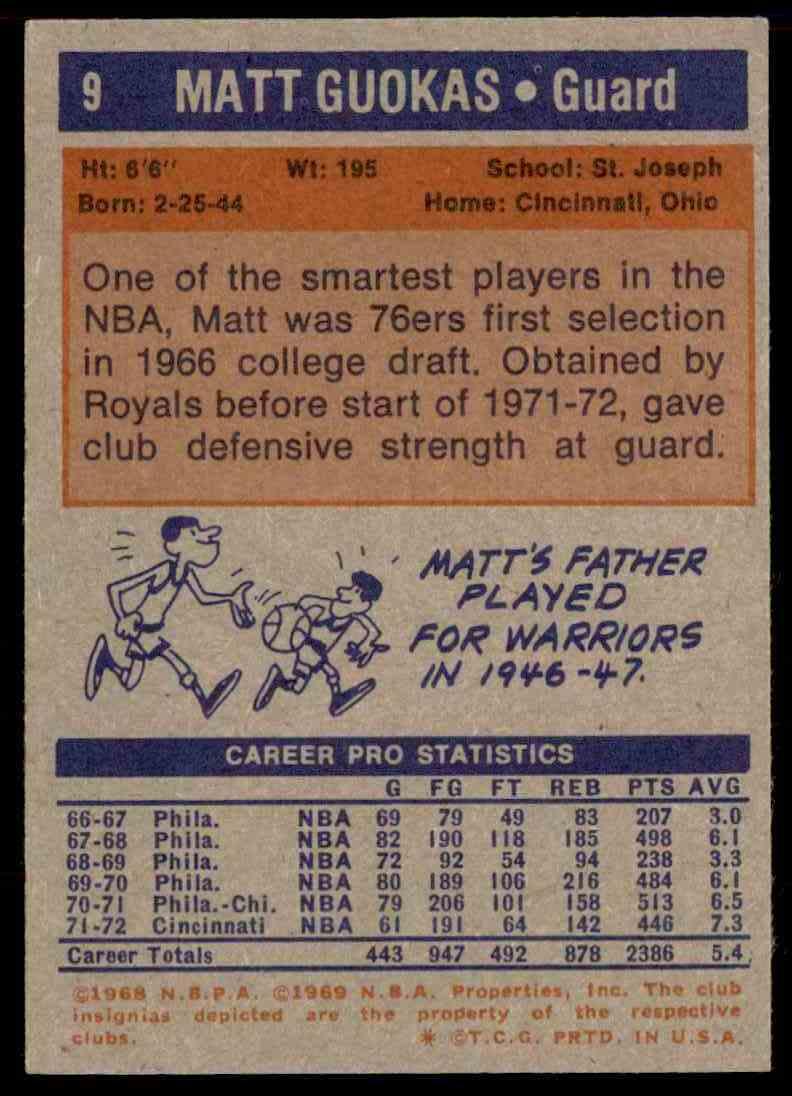 1972-73 Topps Matt Guokas #9 card back image
