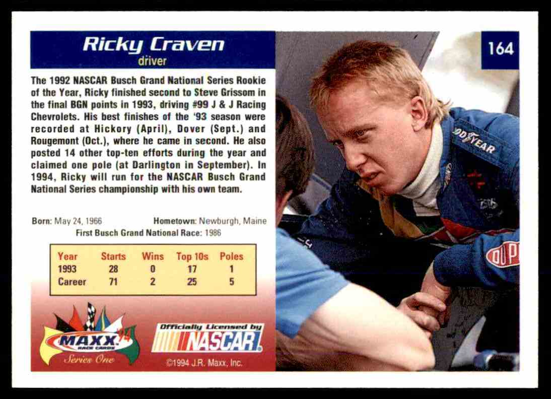 1994 Maxx Racing Series One Ricky Craven #164 card back image