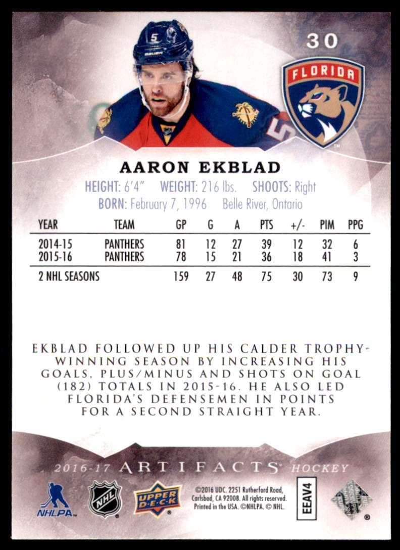 2016-17 Artifacts Aaron Ekblad #30 card back image