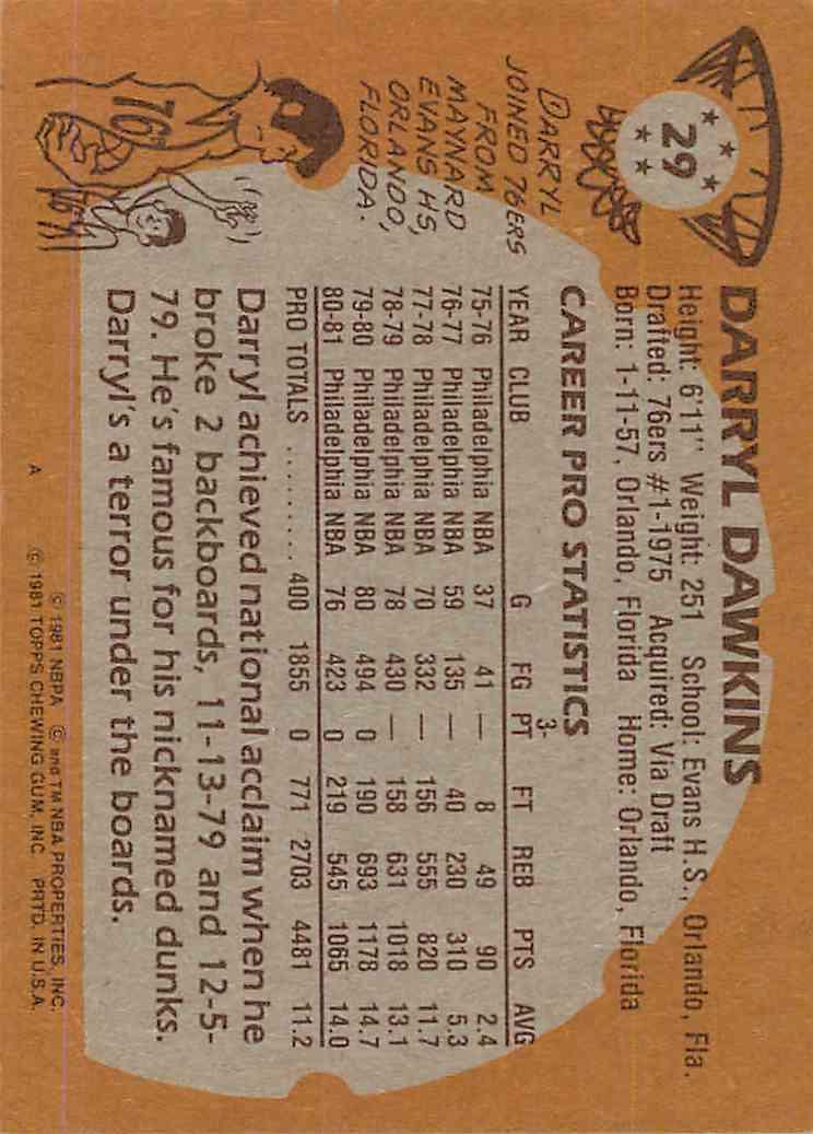 1981-82 Topps Darryl Dawkins #29 card back image