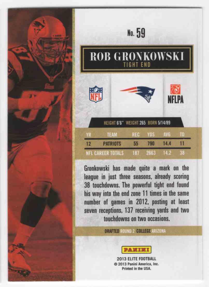 2013 Elite Rob Gronkowski #59 card back image