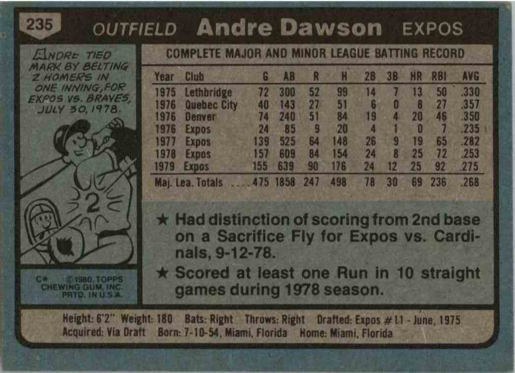 1980 Topps Andre Dawson #235 card back image