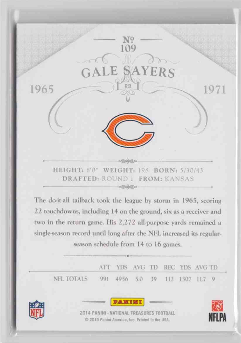 2014 Panini National Treasures Legends Century Silver Gale Sayers #109 card back image