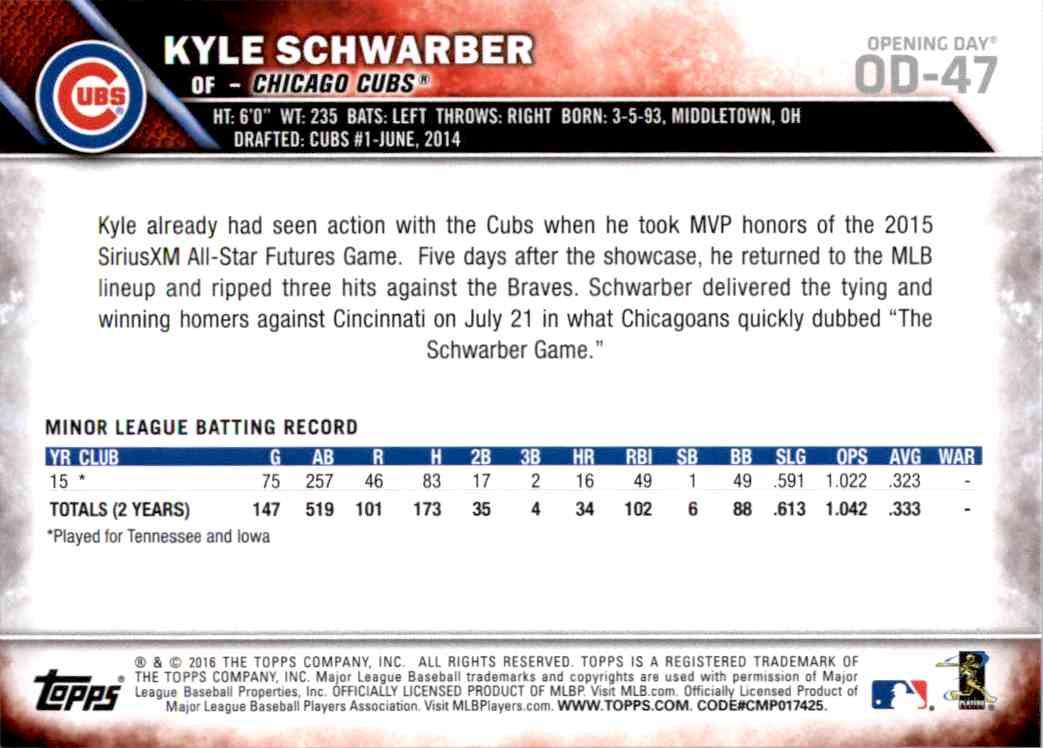 2016 Topps Opening Day Kyle Schwarber ASR #OD-47A card back image