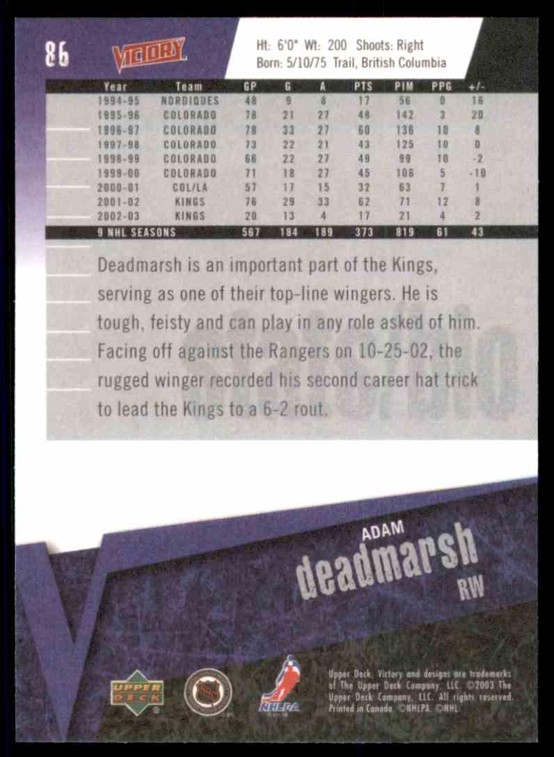 2003-04 Upper Deck Victory Adam Deadmarsh #86 card back image