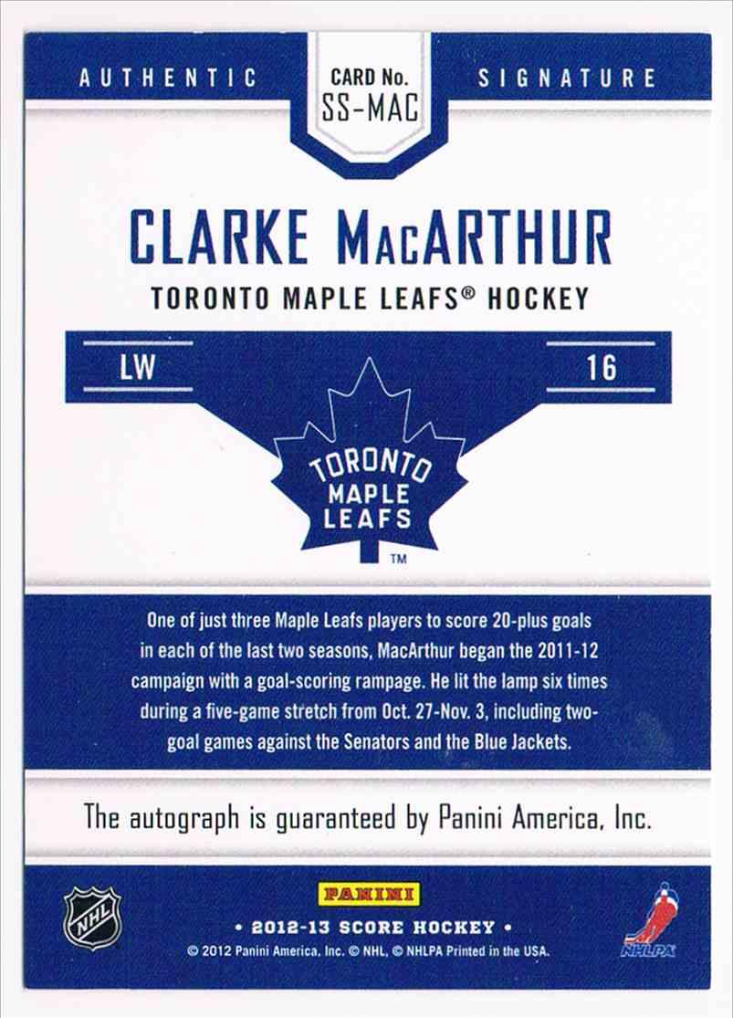 2012-13 Panini Score Signatures Clarke MacArthur card back image