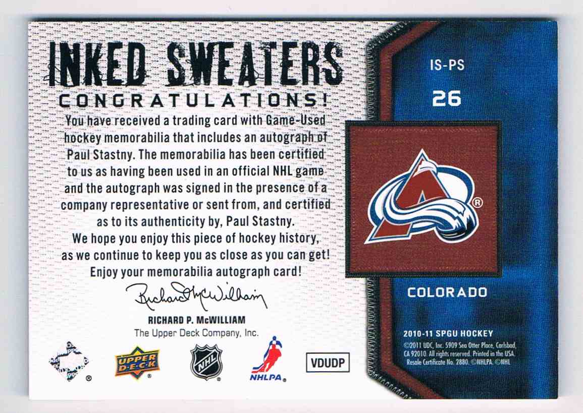 2010-11 Upper Deck SP Game Used Inked Sweaters Paul Stastny #IS-PS card back image