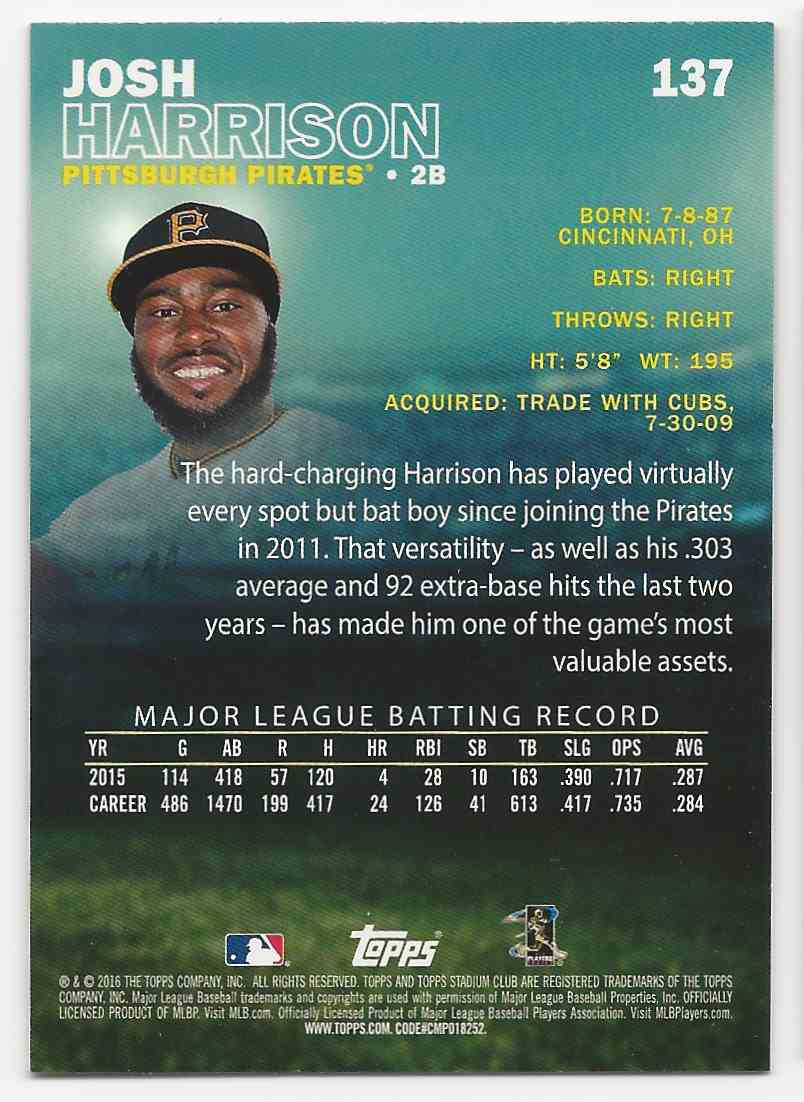 2016 Stadium Club Josh Harrison #137B card back image