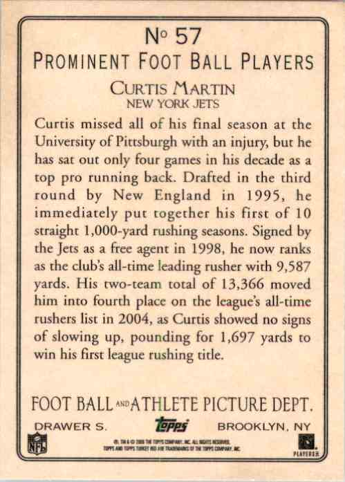 2005 Topps Turkey Red Curtis Martin #57 card back image