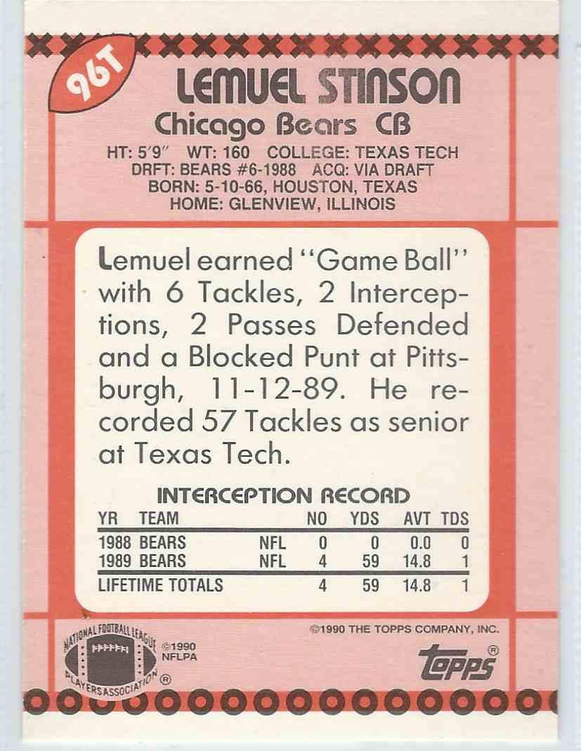 1990 Topps Traded Lemuel Stinson #96T card back image