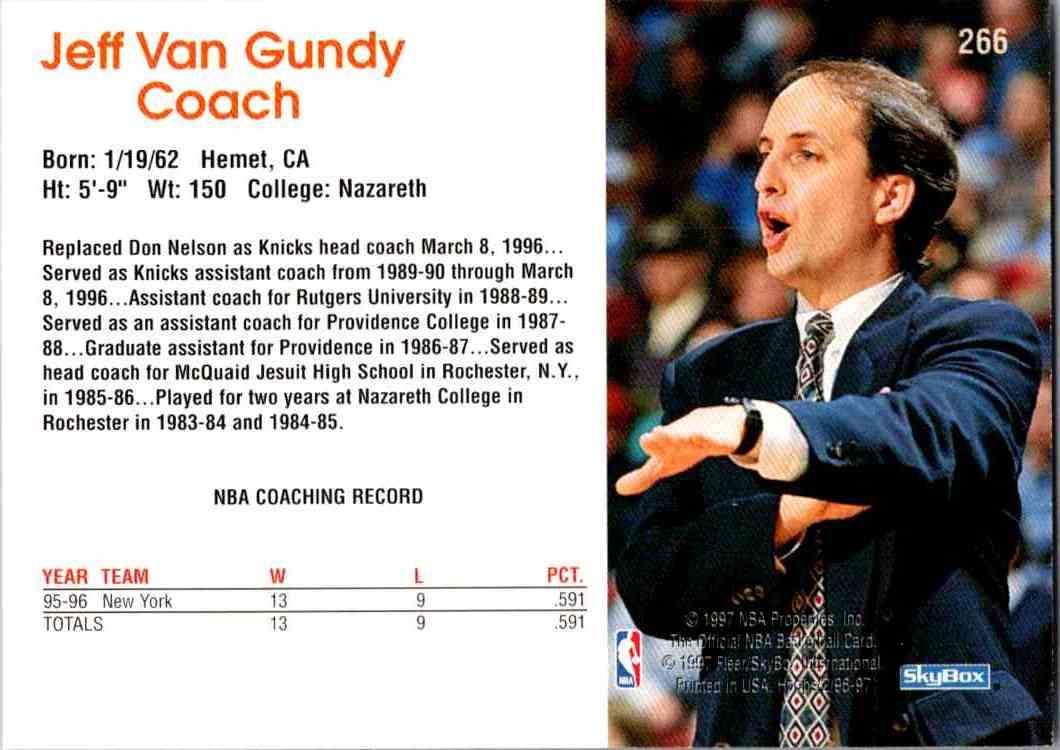 1997-98 NBA Hoops Jeff Van Gundy #266 card back image