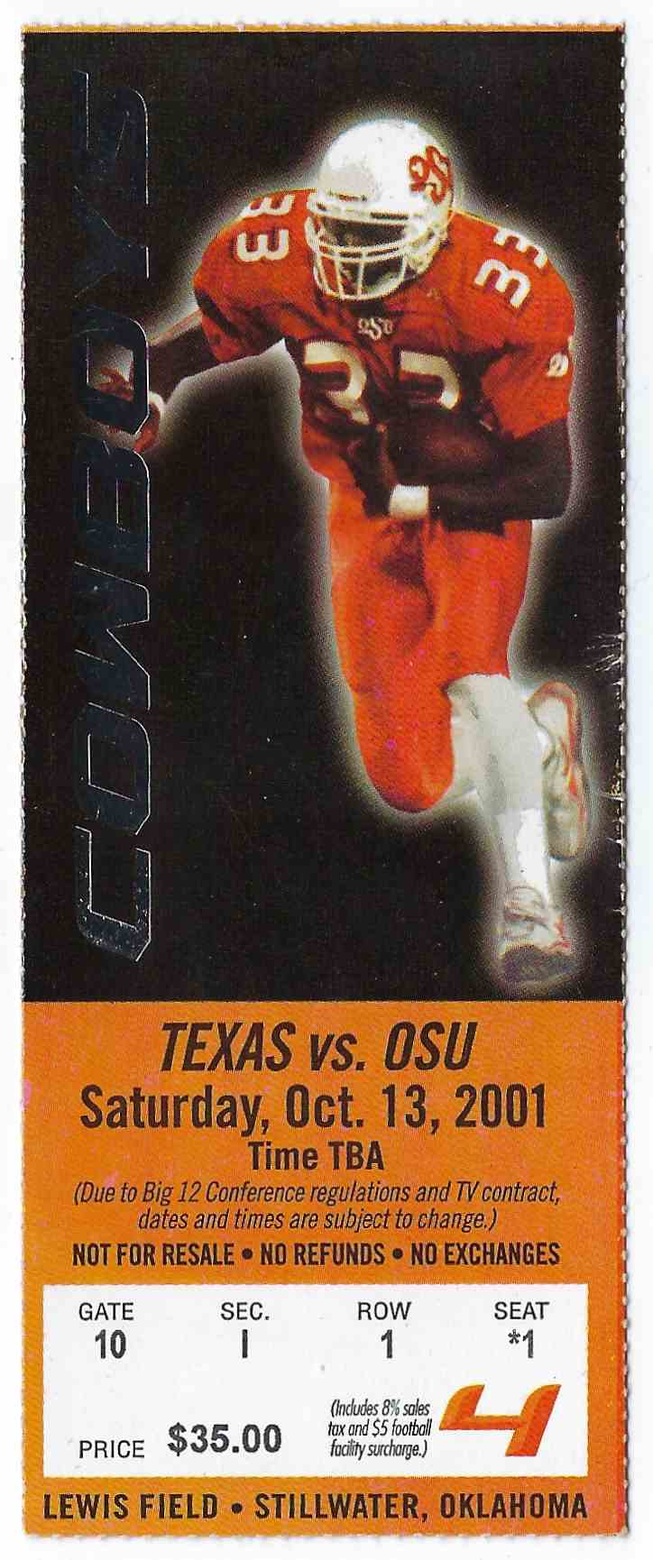 2001 College Football Ticket Stub Texas Vs Oklahoma State card front image