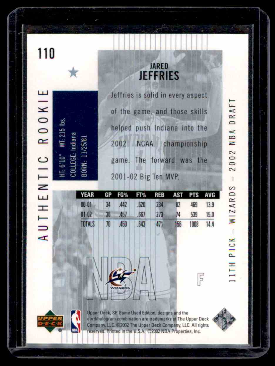 2002-03 SP Game Used Jared Jeffries #110 card back image