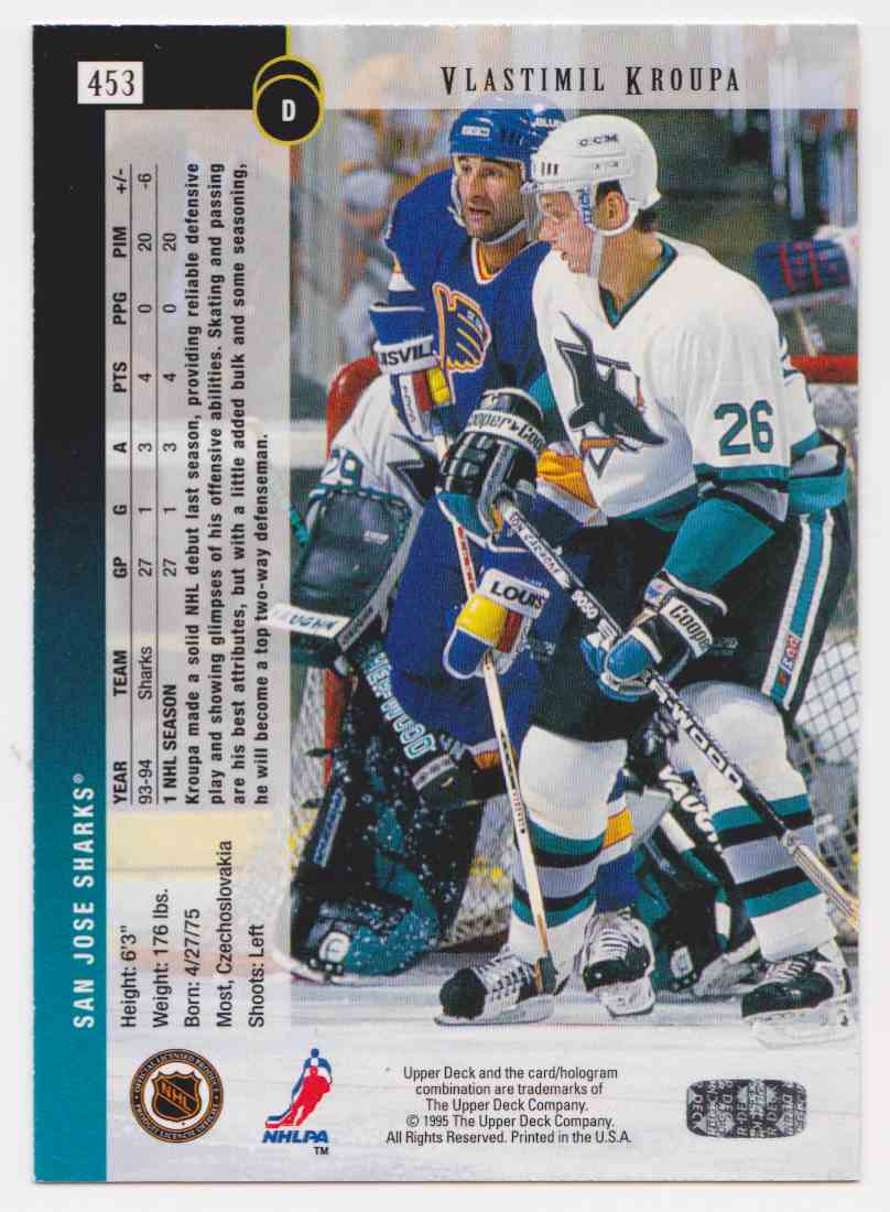 1994-95 Upper Deck Vlastimil Kroupa #453 card back image