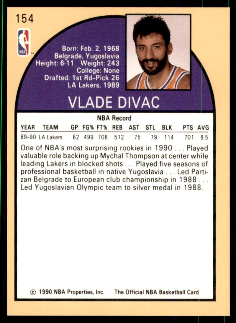 1990-91 Hoops Vlade Divac #154 card back image