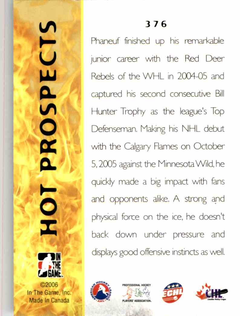 2005-06 In The Game Heroes And Prospects Dion Phaneuf #376 card back image