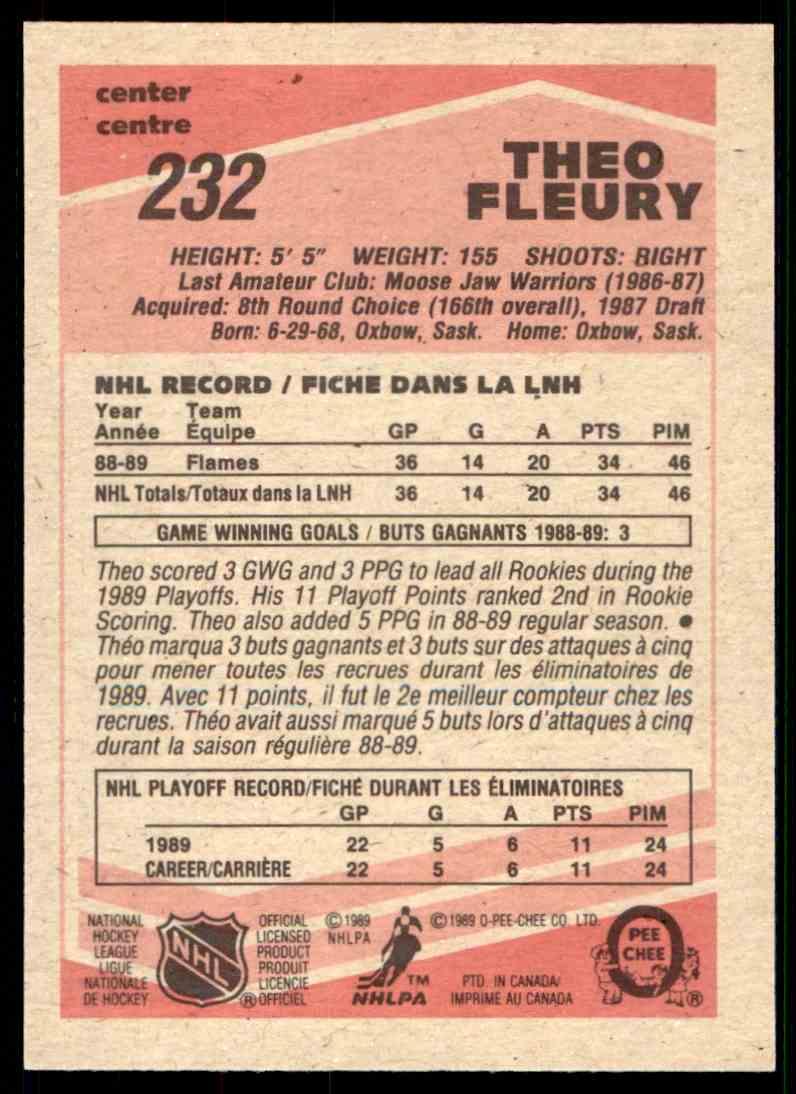 1989-90 O-Pee-Chee Theo Fleury #232 card back image