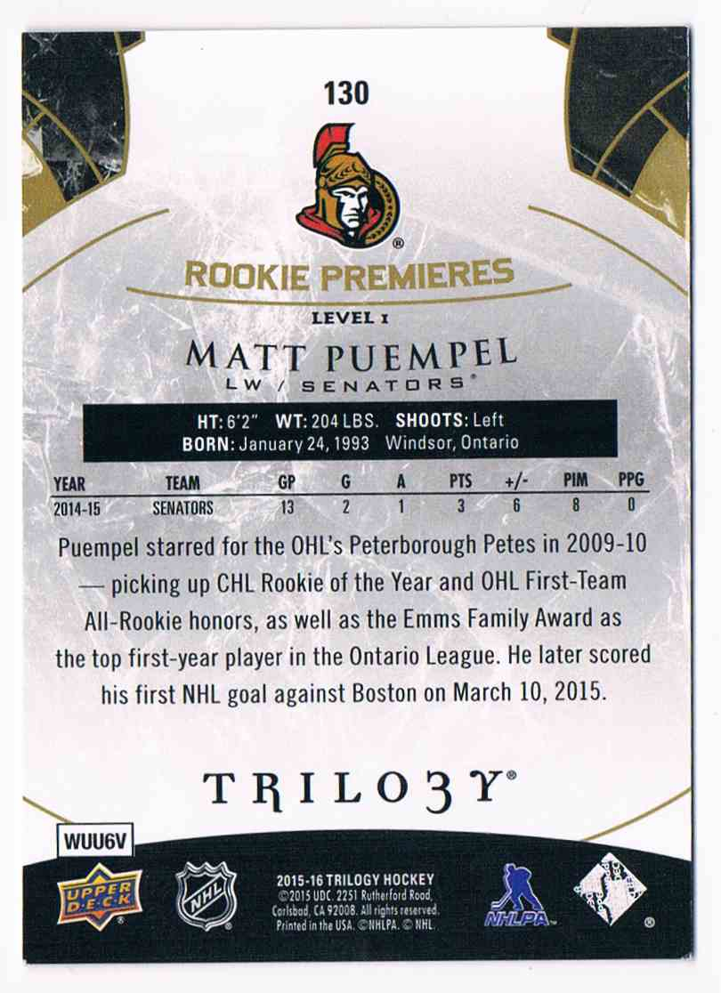 2015-16 Upper Deck Trilogy Rookie Premieres Matt Puempel #130 card back image