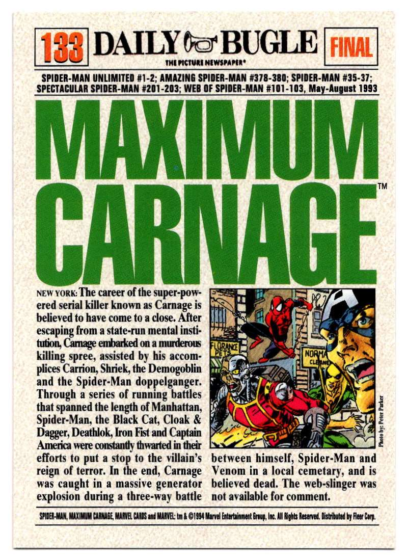 1994 Amazing Spider-Man Maximum Carnage #133 card back image