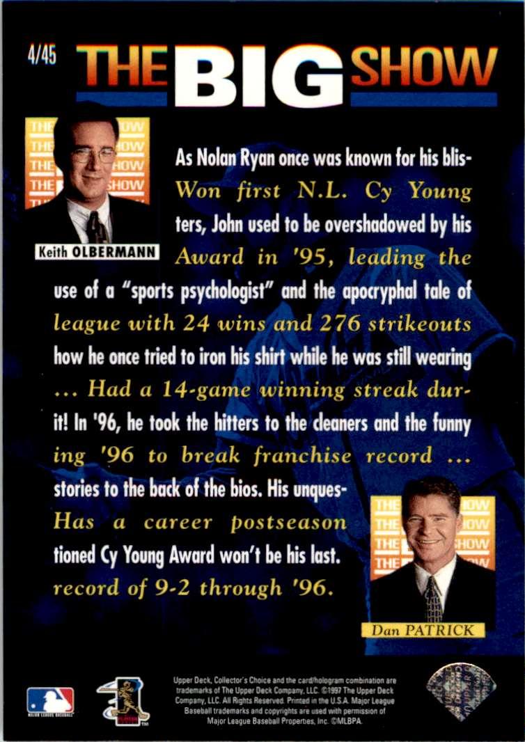 1997 Upper Deck Collector's Choice John Smoltz #4/45 card back image