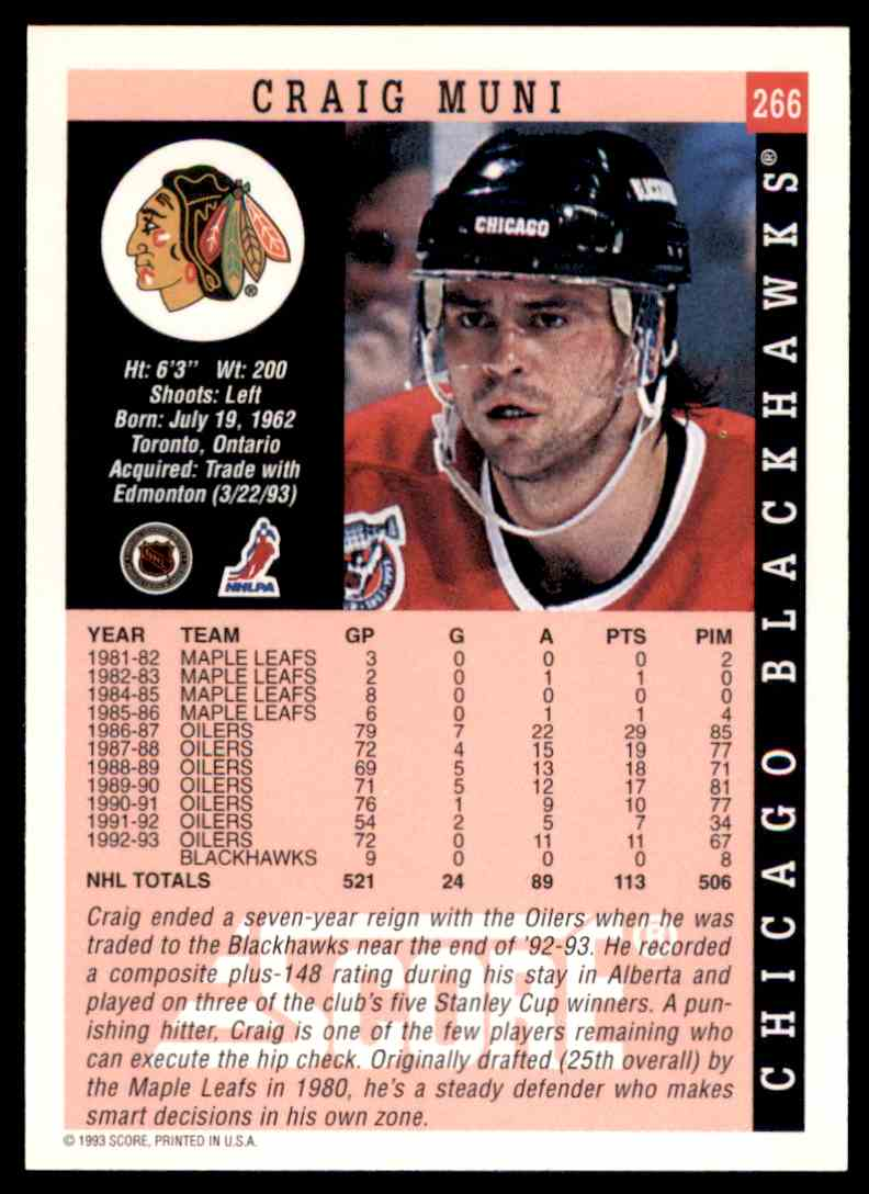 1993-94 Score Craig Muni #266 card back image