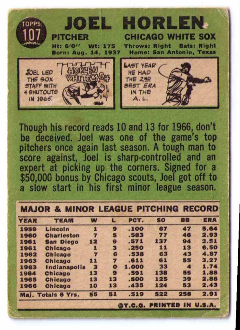 1967 Topps Baseball Card Joel Horlen #107 card back image