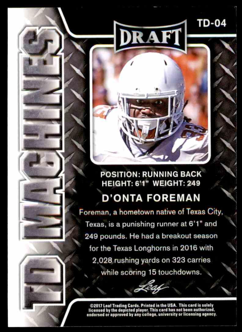 2017 Leaf Draft D'onta Foreman #TD-04 card back image
