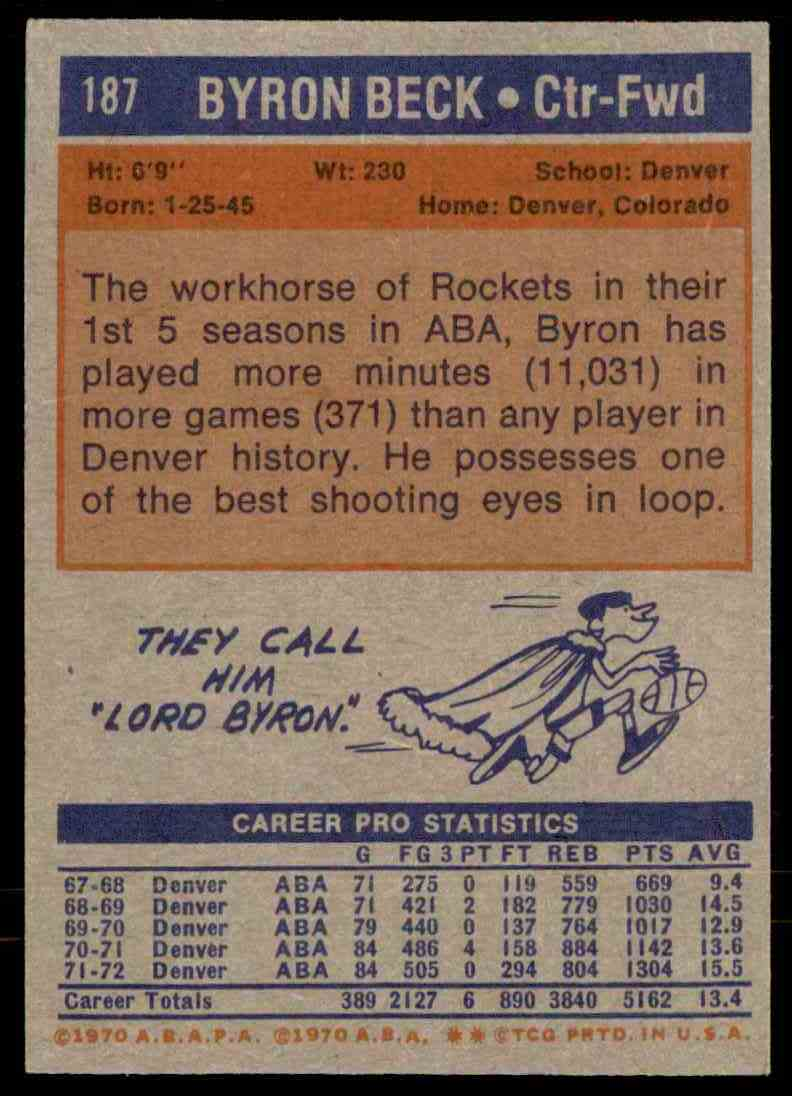 1972-73 Topps Byron Beck #187 card back image