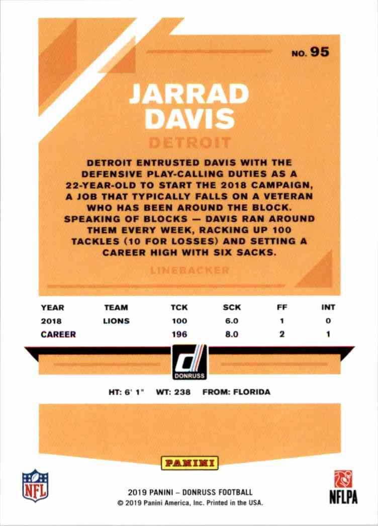 2019 Panini Donruss Jarrad Davis #95 card back image