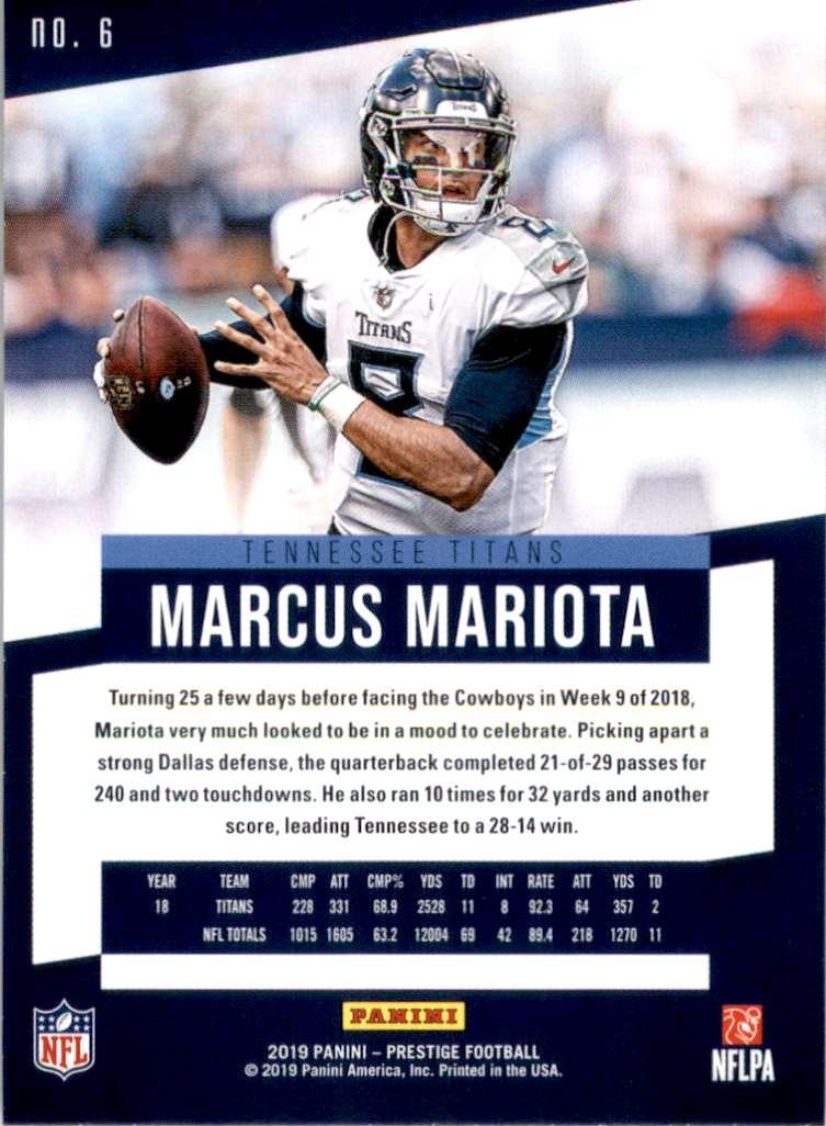2019 Prestige Marcus Mariota #6 card back image