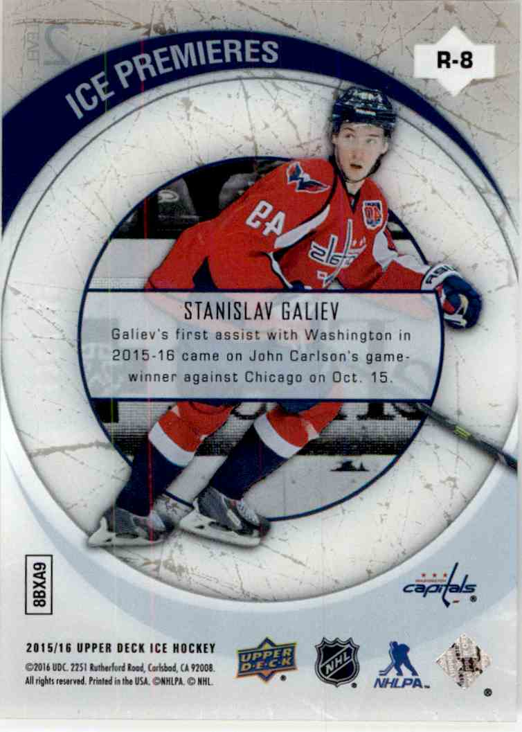 2015-16 Upper Deck Ice '05-'06 Retro Ice Premieres Stanislav Galiev #R-8 card back image