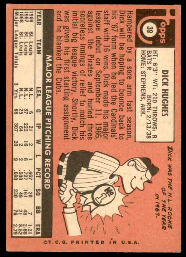 1969 Topps Dick Hughes #39 card back image