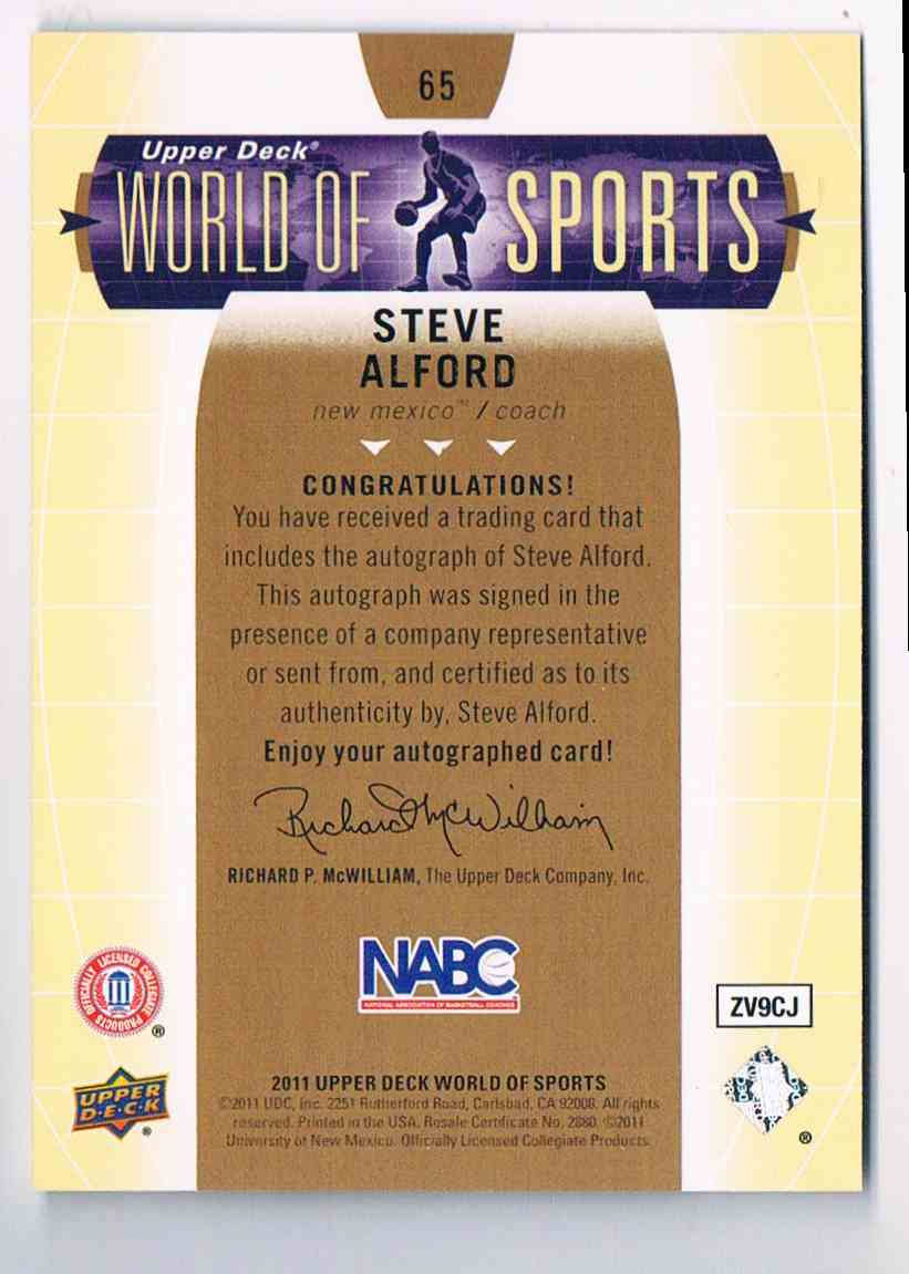 2011-12 Upper Deck Basketball Basketball World Of Sports Steve Alford Coach #65 card back image