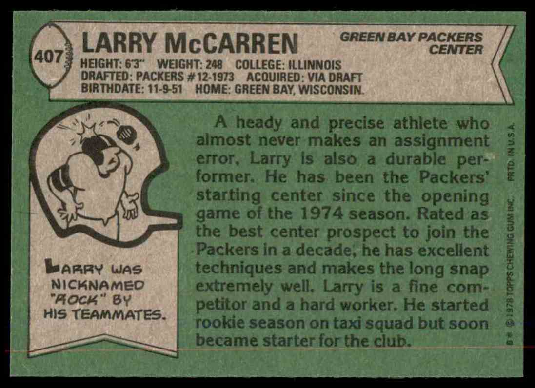 1978 Topps Football Larry McCarren #407 card back image