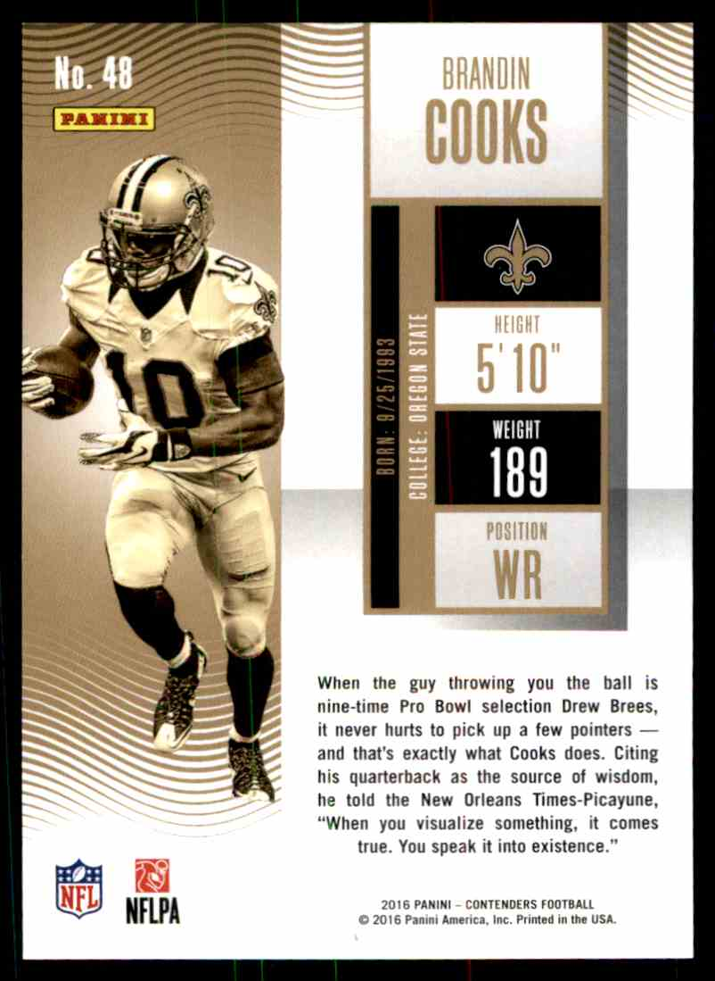 2016 Panini Contenders Season Ticket Brandin Cooks card back image