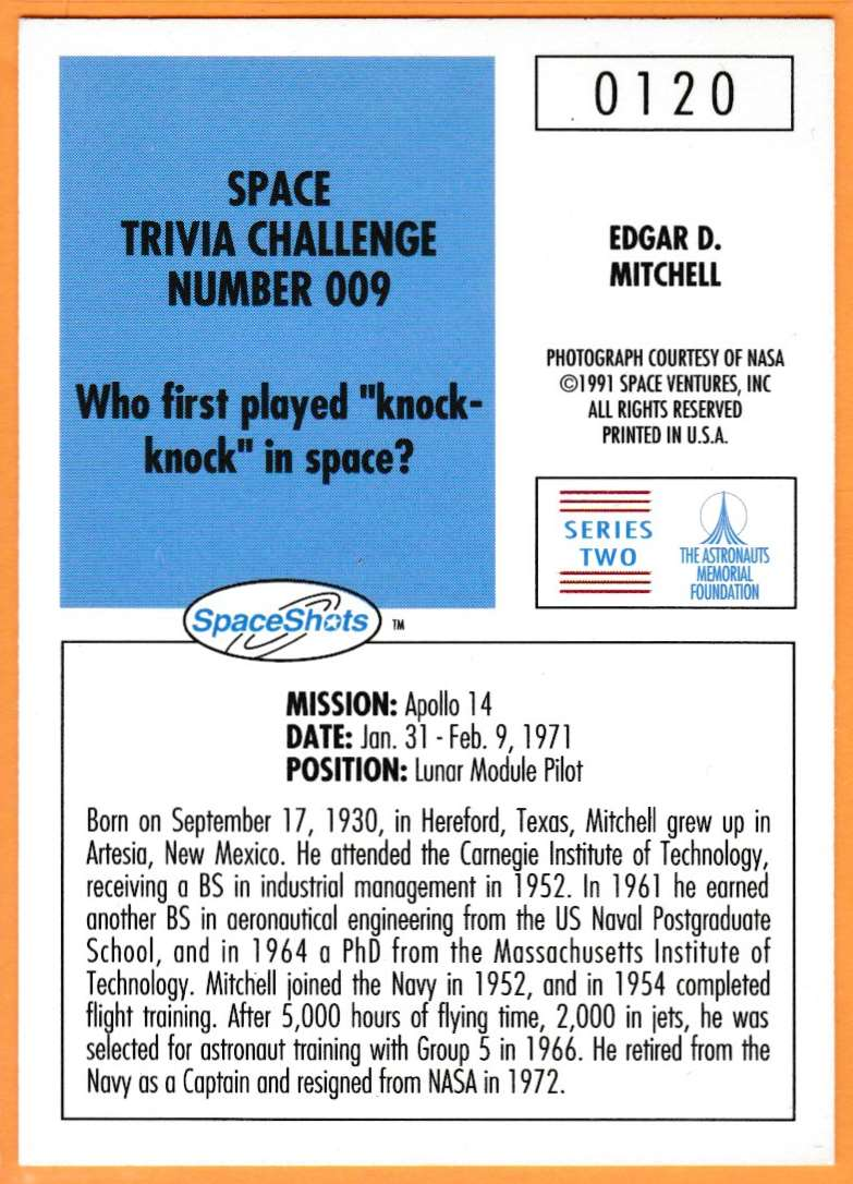 1991 Space Shots Space Trivia Challenge Edgar D.Mitchell #120 card back image