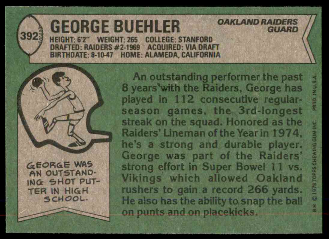 1978 Topps Football George Buehler #392 card back image