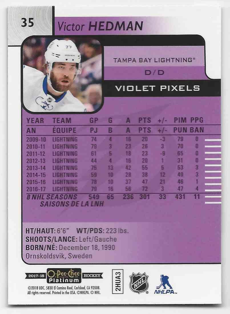 2017-18 O-Pee-Chee Platinum Violet Pixels Victor Hedman #35 card back image
