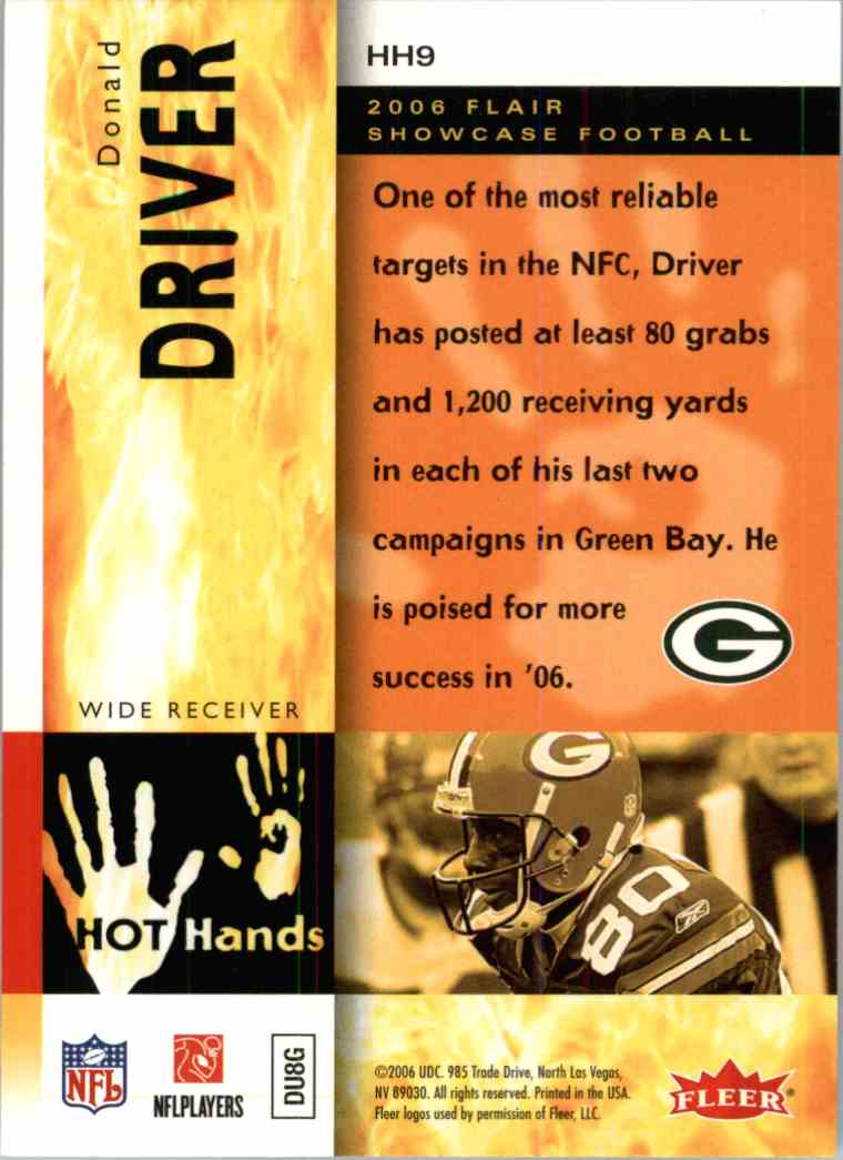 2006 Flair Showcase Donald Driver #HH9 card back image