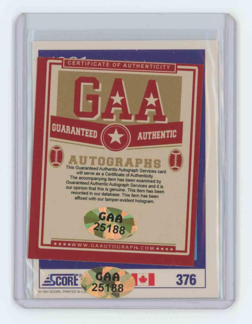 1991 1991-92 Score National Hockey #376 Wayne Gretzky Dream Team Auto Wayne Gretzky #376 card back image