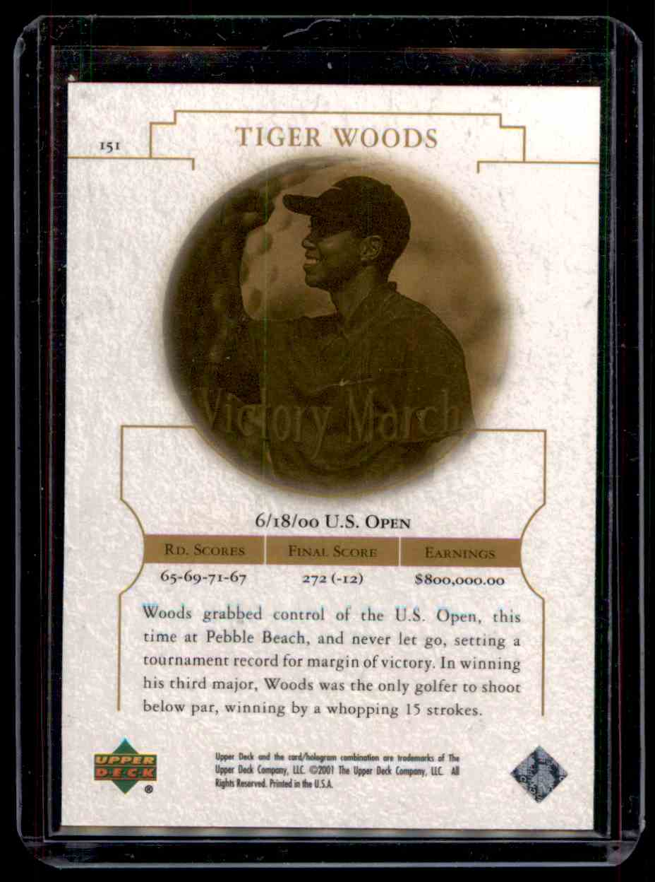 2001 Upper Deck Tiger Woods #151 card back image