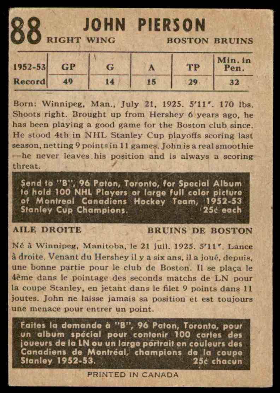 1953-54 Parkhurst John Pierson #88 (02) card back image